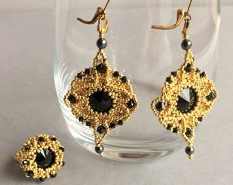 Black and Gold Swarovski Crystal set Earrings and Rings Jewelry set