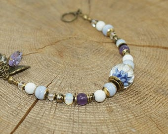Art bead, chalcedony gemstones bracelet, Amethyst, rock crystal and brass