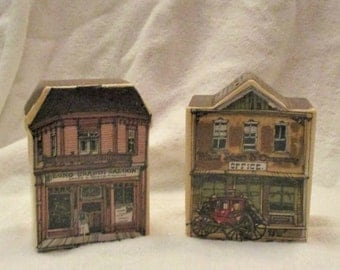Vintage Enesco Old West Main Street S&P See Description