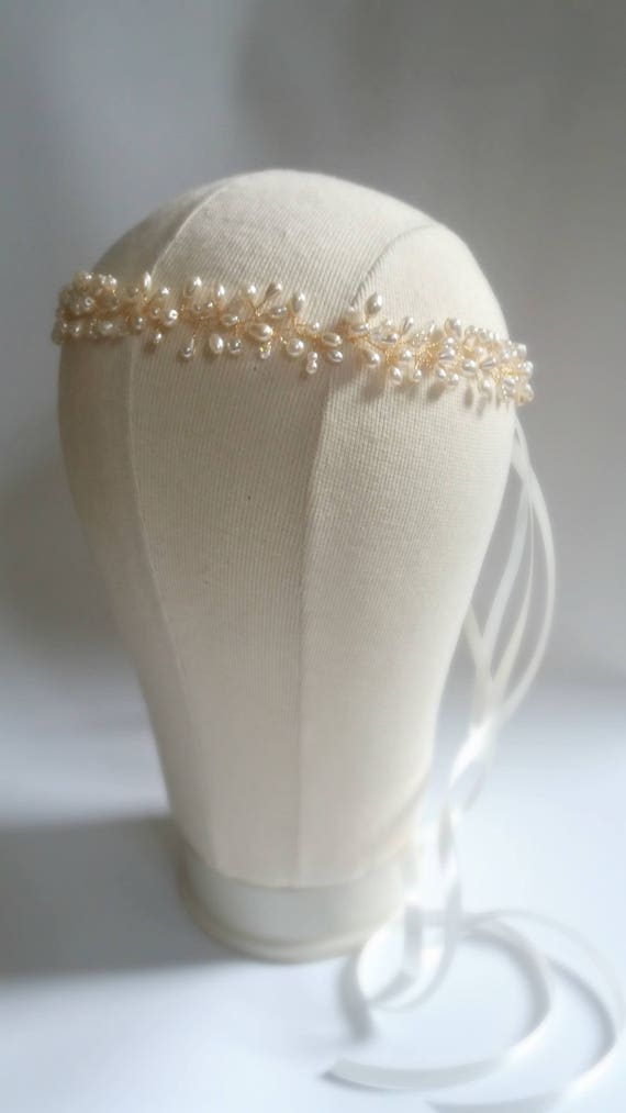 Gold Pearl and Crystal Bridal Hair Wreath