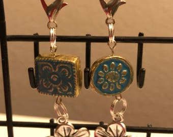 Dog Collar Charm w Blue & Gold Mosaic Bead and Flower Accent
