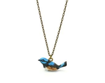 Tiny Blue Bird Charm Necklace, Hand Sculpted/Painted Figurine, Ceramic Animal Pendant & Chain ()