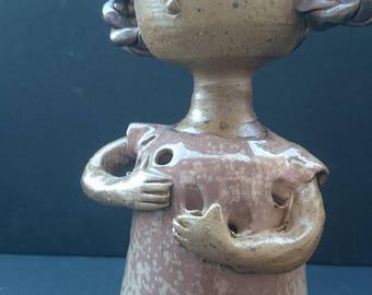 French Vintage Girl Sculpture Vase