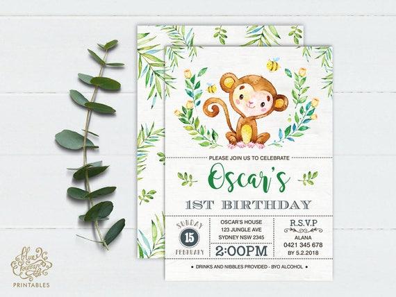 Monkey first birthday invitation jungle baby monkey party invite il570xn filmwisefo