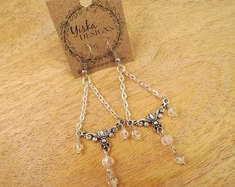 Silver Chandelier Crystal Drop Earrings | charm earrings, drop earrings, dangle earrings, crystal earrings, silver earrings