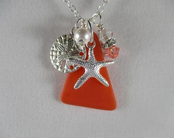 coral sea glass necklace, starfish necklace, sand dollar necklace, nautical necklace,  beach glass necklace, beach ocean lover's gift