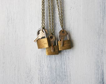 rustic lock necklace, lock necklace, key and lock, necklace, jewelry, antique jewelry, key and lock, rustic key, rustic lock, jewelry