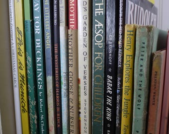 Lot of 16 Hardcover Children's Picture Books in Wicker Basket with Handle - 12 Books from 1960's