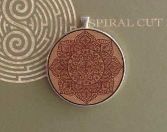Mandala Design - Laser Cut and Engraved Wood Necklace Pendant - Large -Yoga, Meditation, Pagan.
