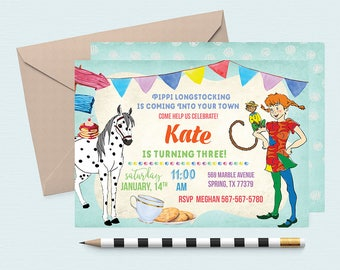 Pippi Longstocking Birthday Invitation, Pippi party, Pippi birthday, Pippi invitations, Pippi birthday invitations, Pippi Longstocking,