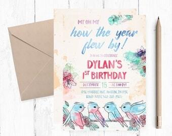 Bird Invitation, First Birthday Invitation Girl, Spring Birthday Invitations,Birdies Invitations,birds theme party, First Birthday Invites,