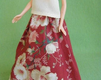 Barbie Skirt and Top: barbie clothes, barbie long skirt, barbie doll clothes, barbie shirt, fashion doll clothes, fashion doll skirt