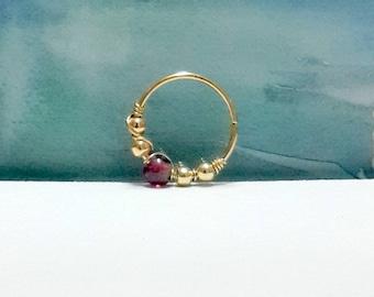 Gold natural garnet 2-3mm bead cartilage earring, helix piercing, tragus, nose hoop, bohemian jewelry, 16-22 gauge, 7 -12mm inner diameter