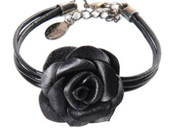 Flower bracelet pink leather flower