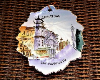 Chinatown ...  Old San Francisco California Souvenir Dish * Plaque - Made in Japan