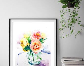 Peinture de nature morte etsy for Aquarelle fleurs livraison gratuite