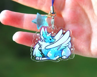 Tundra the Ice Dragon - Acrylic Charm 1.5 Doublesided Furry Keychain Cellphone Strap