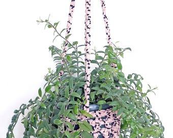 Large hanging planter, pink and black decor, crochet planter, modern decor, indoor planter, houseplants, trailing plant holder, macrame