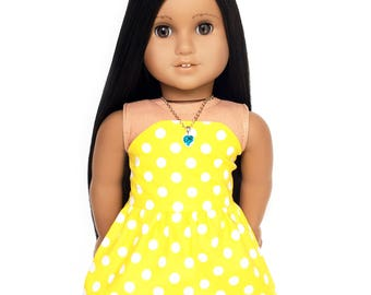 Strapless Dress, Polka Dot, Yellow, White, 18 inch Doll Clothes, Summer, Fits dolls such as American Girl