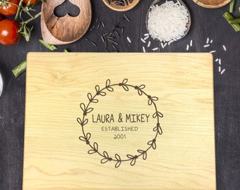 Personalized Cutting Board, Engraved Cutting Board, Custom Cutting Board, Wedding Gift, Housewarming Gift, Anniversary Gift, Laurel, B-0084