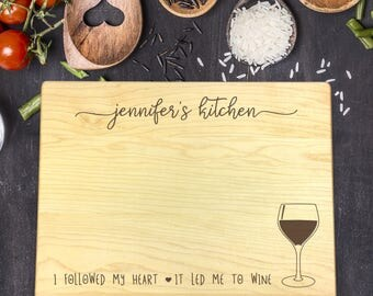 Personalized Cutting Board, Christmas Gift, Gift for Her, Gift for Wife, Gift for Women, Wedding Gift, Housewarming Gift, Wine Lover, B-0098
