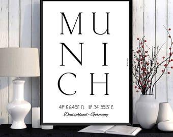 Munich Poster, Munich print, Home wall decor, Office wall decor, Munich city print, City poster, Munich printable, Typography print