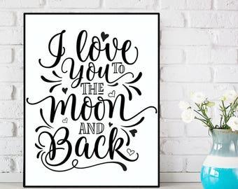 Nursery wall art, Nursery decor I love you to the moon and back, Nursery quote, Bedroom wall decor, Kids baby Christmas gift, Love poster