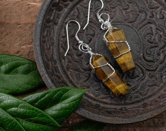 Polished TIGERS EYE Earrings - Silver Plated Wire Wrapped Earrings, Tigers Eye Jewelry, Tigers Eye Stone Crystal Point, Healing Stone E0551