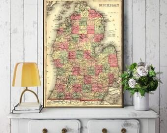 Michigan State Map, Michigan Map Canvas, Antiqued Michigan Map, Canvas Wall Decor, Michigan Wall Decor, Map of Michigan Canvas