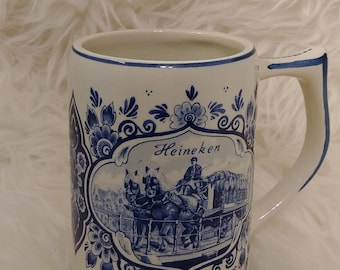 White and blue delft beer mug, windmill and carriage hand painted ceramic, Holland, vintage bar, Heineken mug, gift for him