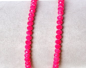 50 pink 4x3mm glass faceted beads / oval beads