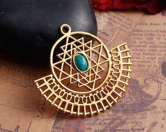 Sri Yantra pendant style openwork copper gold 3.5 cm / Zen Collection