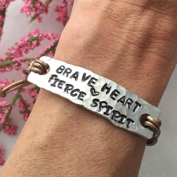 CUSTOM Hand Stamped Leather Bracelet, CrossFit Fitness Gifts, Hammered Charm Bracelet, Courage Gifts, Brave Heart Fierce Spirit Bracelet
