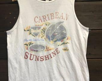 80's Puerto Vallarta Tank Top - Men's Clothing - Vintage Tank Top - T Shirts - 1980's Shirts - Tank Tops