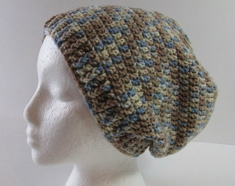 Womens Crochet Slouchy Hat, Blue Tan Cream Slouchy Beanie Hat, Womens Slouchy Hat, Slouchy Beanie, Blue Beige Cream Hat, Slouchy Hat