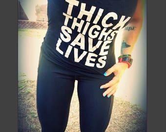 Women's Burnout raecerback tank (Thick Thighs)
