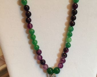 """Amethyst and Aventurine Necklace with a Purple Druzy Agate Pendant 22"""" Long"""