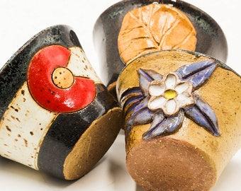 Colorado Shot Glasses, Set of Three | Colorado Gift | Colorado Flag | Columbine | Aspen | Rocky Mountain | Ceramic | Handmade Pottery