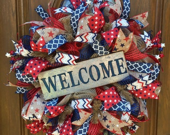 Summer Patriotic Wreath, Patriotic Wreath,  Burlap Welcome Wreath, Deco Mesh Summer Wreath, Everyday Wreath, Rustic Summer Wreath