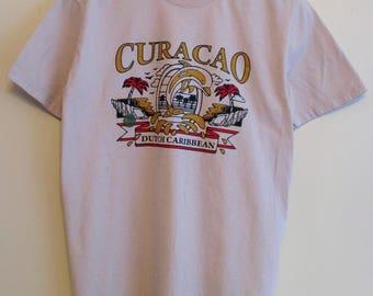 """90's """"Curacao Dutch Caribbean"""" Dolphin Grey T-Shirt"""