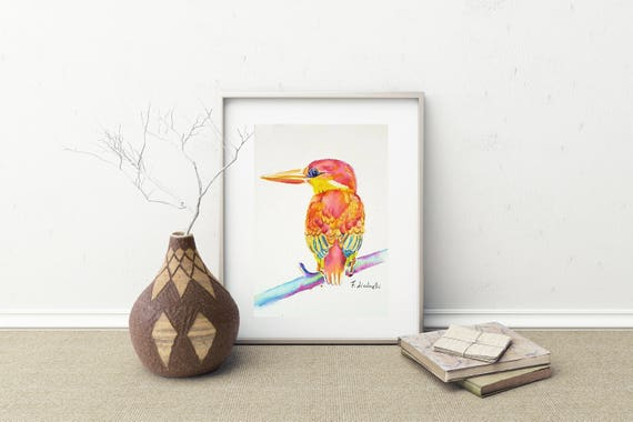 Little bird, original watercolor, portrait, Giclee fine art print, A5, gift idea for baptism or birth, wall art, home office decoration.