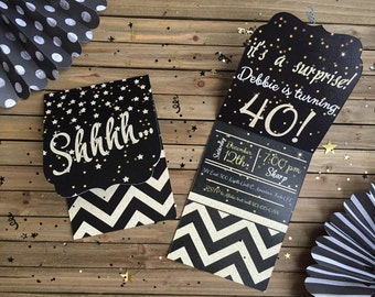 Digital Surprise Party Invitation - Black and Gold Birthday Invite - Black & Gold Surprise Party