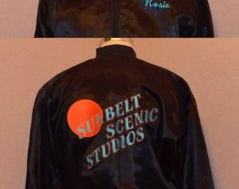 "Sunbelt Scenic Studios Sportswear Satin Rib Knit Collar Jacket Black ""Rosie"""