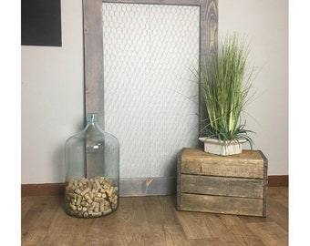 Extra large chicken wire frame 30x47 | Rustic memo board, photo holder, jewelry display | Farmhouse wall decor | Distressed wood | Nursery