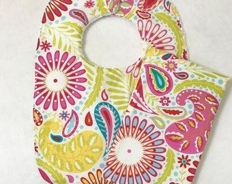 Baby Bib and Burp Cloth Set, Kumari Gardens Bib Set, Baby Girl Shower Gift, Personalized Baby Shower Gift, Baby Girl Bib Set