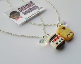 Friendship Necklaces, Best Friends, BFF, Nutella and Toast. 100% Handmade! Polymer Clay.