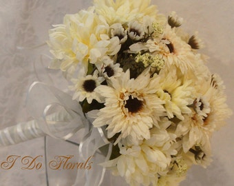 White Mums and Asters Brides Bouquet, Asters and Chrysanthemums Bridesmaid Bouquet, Wedding Bouquet, White Asters and Mums