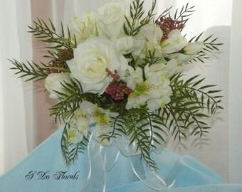 White Brides Bouquet, White Rose, Crocus and Alstroemeria Bridal Bouquet, Romantic Wedding Bouquet, White and Green Brides Bouquet