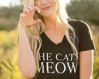 CAT'S MEOW kitten ladies v-neck tee