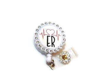 ER Retractable Bade Reel - Emergency Room RN  - ER Doctor - Work Id Holders - Emergency Room  Tech - Office Supplies - Ekg - Heart Rythm